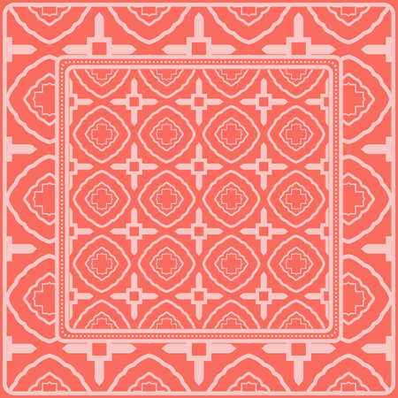 Background, Geometric Pattern With Ornate Lace Frame. Illustration. For Scarf Print, Fabric, Covers, Scrapbooking, Bandana, Pareo, Shawl. Pink color. Ilustración de vector