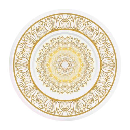decorative plates for interior design. Color mandala ornament. Vector illustration