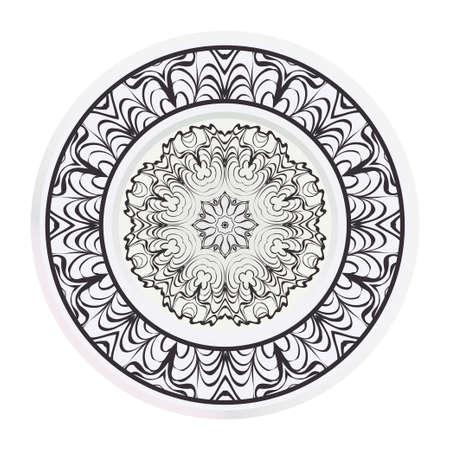 Matching decorative plates for interior design. Empty dish, porcelain plate mock up design. Vector illustration.