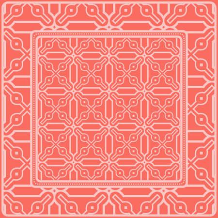 Fondo, patrón geométrico con marco de encaje adornado. Ilustración. Para estampado de bufanda, tela, fundas, scrapbooking, bandana, pareo, chal. Color rosa. Ilustración de vector