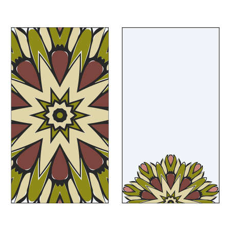Vintage Card With Patterns Of The Mandala. Floral Ornaments. Islam, Arabic, Indian, Ottoman Motifs. Template For Flyer Or Invitation Card Design. Vector Illustration. Illustration