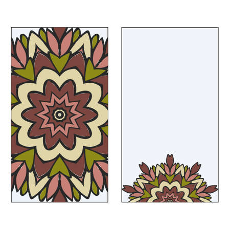 Vintage Card With Patterns Of The Mandala. Floral Ornaments. Islam, Arabic, Indian, Ottoman Motifs. Template For Flyer Or Invitation Card Design. Vector Illustration. 向量圖像
