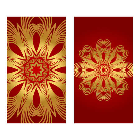 Rea and gold color Set of two Yoga card, flyer, poster. Template with mandala for spiritual retreat or yoga studio. Vector illustration. Islam, arabic, indian, ottoman motifs. Ilustração