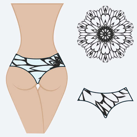 erotic womens panties. vector illustration. gift floral print