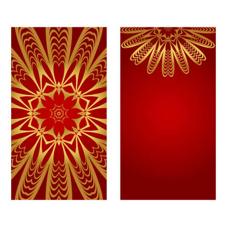 Set of two design template brochures, cards, invitations, flyers with mandala ornament for a yoga studio. Vector illustration.