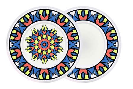 Decorative round plate with mandala from floral elements. Vector illustration. Home decor, interior design. Set of 2 matching decorative plates for interior design