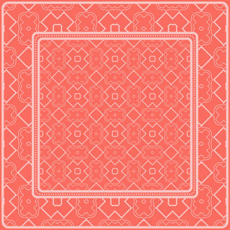 Design Of A Scarf With A Geometric Pattern . For Tablecloth, Fabric, Covers, Scrapbooking, Bandana, Pareo, Shawl. Vector Illustration. Rose color.