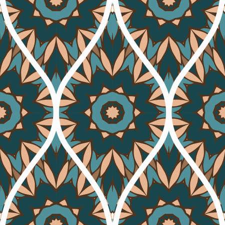 Seamless Line Geometric Floral Pattern. Abstract Geometry Flower. Vector Illustration. Interior Decoration, Wallpaper, Presentation, Fashion Design.