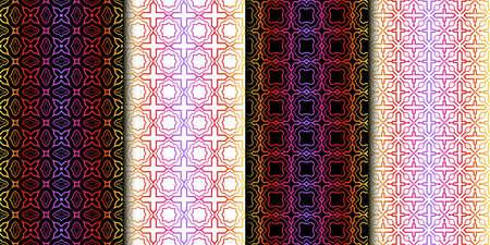 Satz von geometrischen Mustern. Nahtloser Beschaffenheits-Farbhintergrund. Vektor-Illustration Vektorgrafik