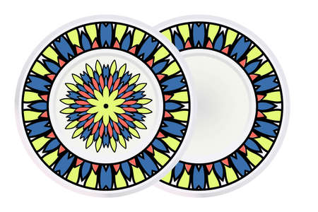 Set of 2 matching decorative plates for interior design. Tribal ethnic ornament with mandala. Home decor vector illustration Illustration