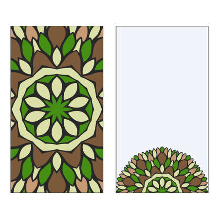 Ethnic Mandala Ornament. Templates invitation card With Mandalas. Floral decoration. Vector illustration Green, brown color. Card Design For Banners, Greeting Cards, Gifts Tags 矢量图像