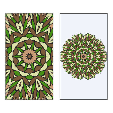 Ethnic Mandala Ornament. Templates invitation card With Mandalas. Floral decoration. Vector illustration Green, brown color. Card Design For Banners, Greeting Cards, Gifts Tags Vectores