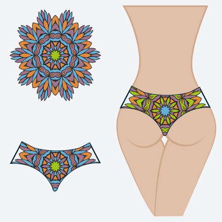 Woman panties briefs with mandala print. Flat vector iluustration. Fashion design.