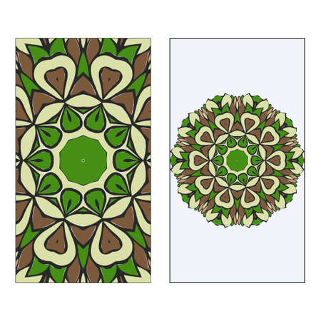 Ethnic Mandala Ornament. Templates invitation card With Mandalas. Floral decoration. Vector illustration Green, brown color. Card Design For Banners, Greeting Cards, Gifts Tags