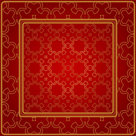 Design Of A Scarf With A Geometric Pattern . Vector Illustration. For Print Bandana, Shawl, Carpet, Tablecloth, Bed Cloth, Fashion. Red gold color.