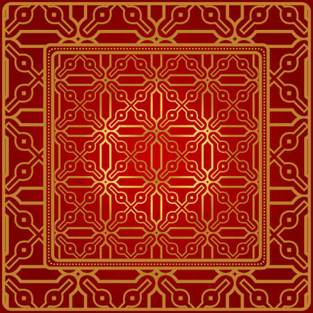 Design Of A Geometric Pattern. Vector. For Wallpaper, Flyer, Book, Brochure. Red gold color. Standard-Bild - 116347535