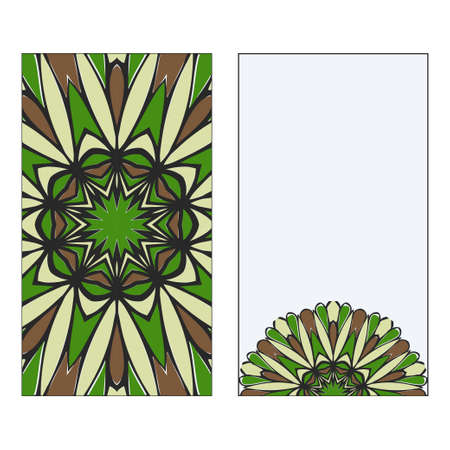 Ethnic Mandala Ornament. Templates invitation card With Mandalas. Floral decoration. Vector illustration Green, brown color. Card Design For Banners, Greeting Cards, Gifts Tags Иллюстрация