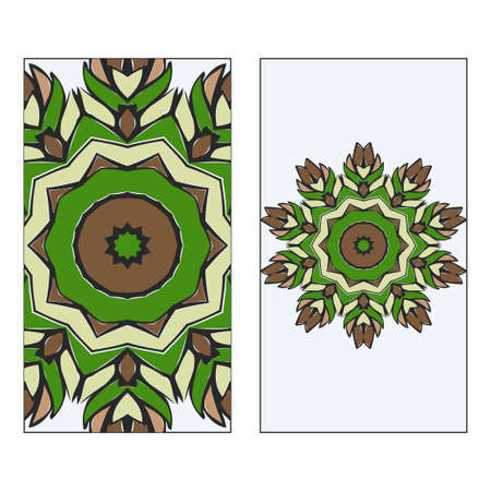 Ethnic Mandala Ornament. Templates invitation card With Mandalas. Floral decoration. Vector illustration Green, brown color. Card Design For Banners, Greeting Cards, Gifts Tags Illustration