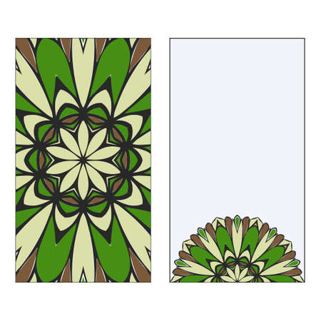Ethnic Mandala Ornament. Templates invitation card With Mandalas. Floral decoration. Vector illustration Green, brown color. Card Design For Banners, Greeting Cards, Gifts Tags Vetores