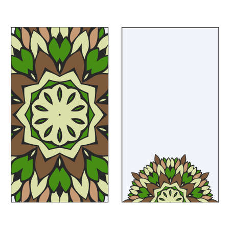 Ethnic Mandala Ornament. Templates invitation card With Mandalas. Floral decoration. Vector illustration Green, brown color. Card Design For Banners, Greeting Cards, Gifts Tags Foto de archivo - 116347721