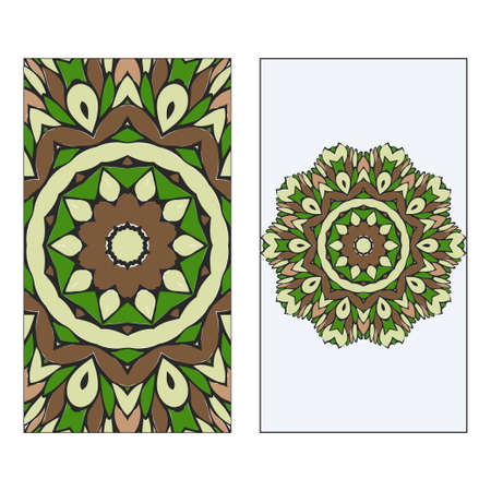 Ethnic Mandala Ornament. Templates invitation card With Mandalas. Floral decoration. Vector illustration Green, brown color. Card Design For Banners, Greeting Cards, Gifts Tags Foto de archivo - 116347771