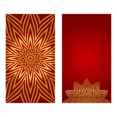 Luxury Set of two template brochures, cards, invitations, flyers with delicate floral pattern. Vector background. Card or invitation. Islam, arabic, indian, ottoman motifs. red and gold color.