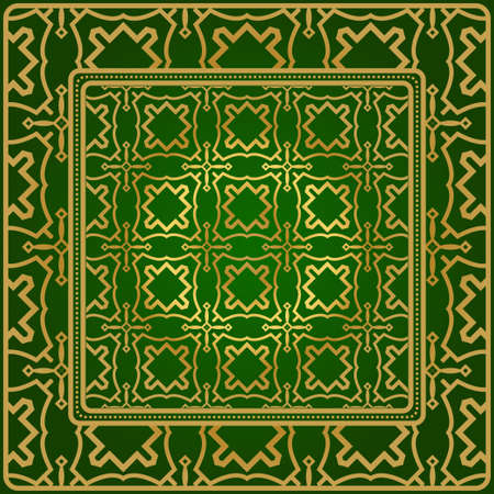 Background, Geometric Pattern With Ornate Lace Frame. Illustration. For Scarf Print, Fabric, Covers, Scrapbooking, Bandana, Pareo, Shawl. Green gold color.