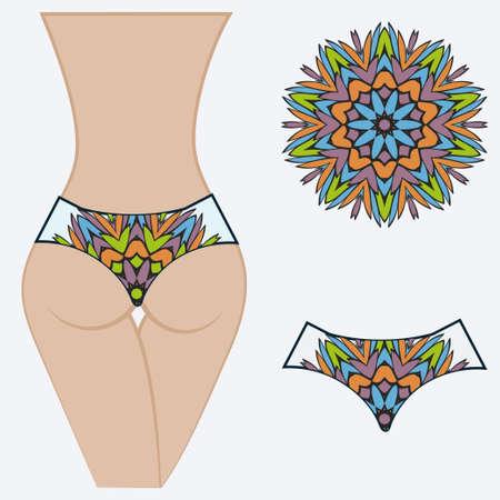 Female with panties. Decorative vector illustration. Mandala fashion print Vetores