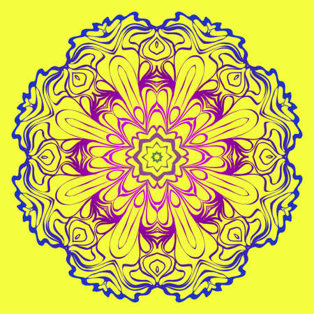 Modern Geometric Ornament. Floral Style. Artdeco. Vector Illustration For Design. Yellow, purple color.