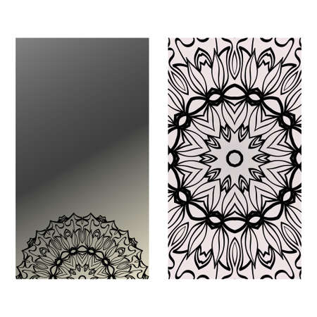 Design Vintage Cards With Floral Mandala Pattern And Ornaments. Vector Template. Islam, Arabic, Indian, Mexican Ottoman Motifs. Hand Drawn Background. Black grey color.