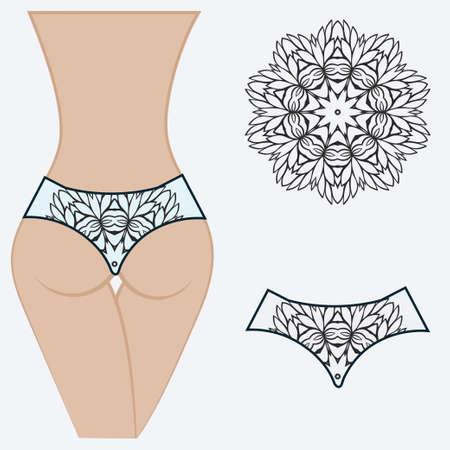 Fashionable design of womens swimming trunks. vector illustration. with a circular floral pattern.