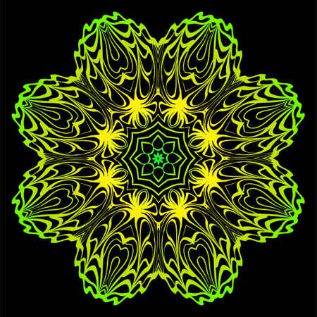 Fashion Print With Mandala Floral Ornament. Vector Illustration. Art Traditional, Islam, Arabic, Indian, Magazine, Elements With Mandala. Black green color.