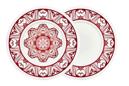 Set of 2 decorative plates for interior design. Color mandala ornament. Vector illustration