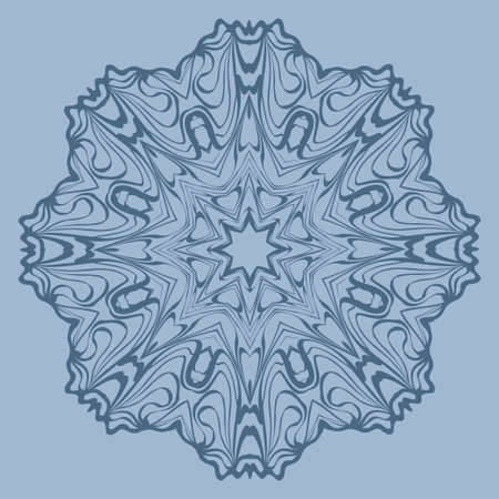 Flower Coloring Mandala. Decorative Elements. Vector Illustration. Oriental Pattern, Indian, Moroccan, Mystic, Ottoman Motifs. Blue pastel color.