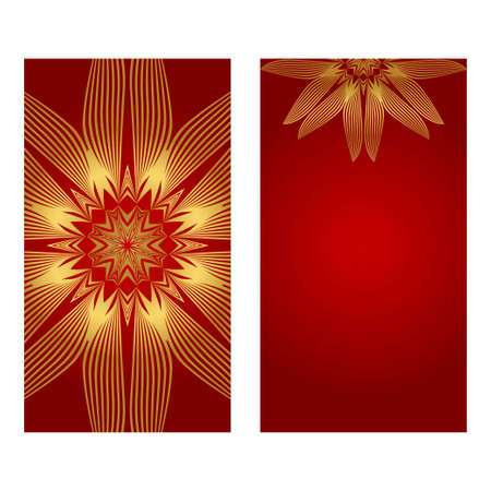 Rea and gold color Set of two Yoga card, flyer, poster. Template with mandala for spiritual retreat or yoga studio. Vector illustration. Islam, arabic, indian, ottoman motifs.