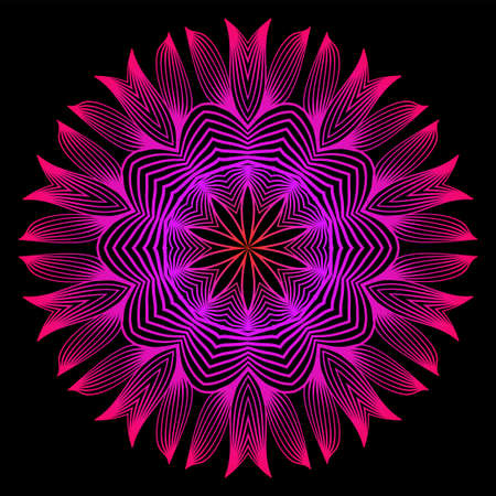 Floral Color Mandala. Arabic, Indian, Motifs. Vector Illustration. Black purple color.