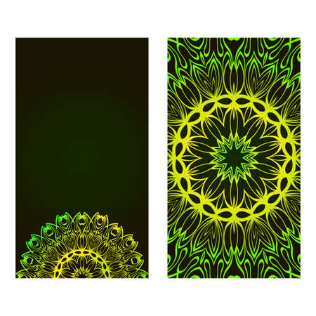 Relax Cards With Mandala Formed Flowers, Boho Style, Vector Illustration. For Wedding, Bridal, Valentine's Day, Greeting Card Invitation. Black green color.