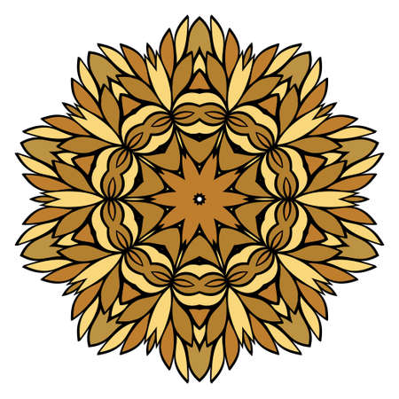 Oriental Mandala. Vintage Decorative Elements. Vector illustration. Golden color. For Coloring Book, Greeting Card, Invitation, Tattoo. Anti-Stress Therapy Pattern Illustration