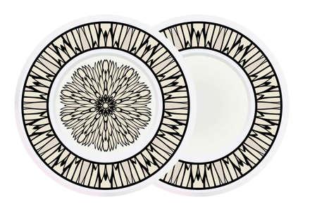 Matching decorative plates for interior designwith floral art deco pattern. Empty dish, porcelain plate mock up design. Vector illustration. White, grey color. Иллюстрация