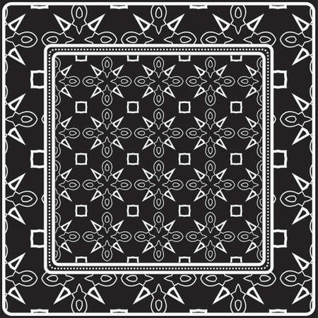 Design Of A Scarf With A Geometric Pattern . Vector illustration. Black and white color. For fashion print, modern design, scrapbooking, background
