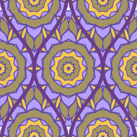 Floral Geometric Pattern With Hand-Drawing Seamless. Vector illustration. Brown pink purple color.