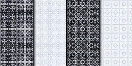 Set of Seamless Geometrical Linear Texture. Original Geometrical Puzzle. Backdrop. Grey color. Vector illustration. Ilustrace