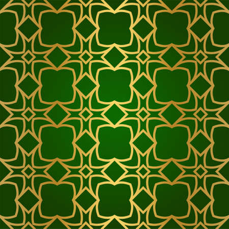 Luxury Seamless Geometrical Linear Texture. Original Geometrical Puzzle. Backdrop. Vector illustration. Green gold color. Design For Prints, Textile, Decor, Fabric Illustration