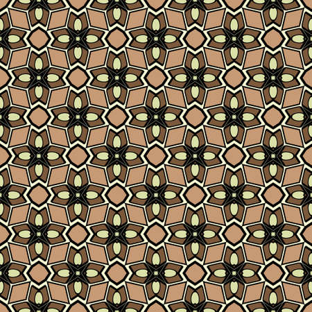 Abstract Vector Seamless Pattern With Abstract Geometric retro Style. Repeating Sample Figure And Line. For Modern Interiors Design, Wallpaper, Textile Industry. Brown, light olive color. Illustration