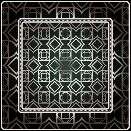 Fondo, patrón geométrico con marco de encaje adornado. Ilustración. Para estampado de bufanda, tela, fundas, scrapbooking, bandana, pareo, chal. Plata. color gris oscuro, color verde. Ilustración de vector