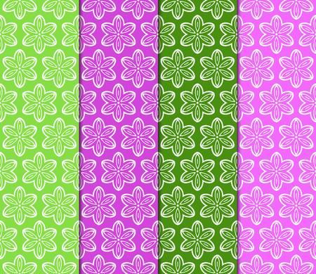 set of color decorative floral ornament. modern pattern. for interior design, textile, wallpaper. seamless vector illustration. Ilustración de vector