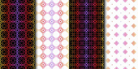Set of Seamless Geometrical Linear Texture. Original Geometrical Puzzle. Backdrop. Vector illustration 일러스트