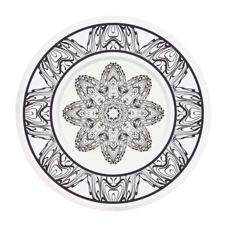 decorative plates for interior design. Empty dish, porcelain plate mock up design. Vector illustration. Decorative plates with stilish ornament patterns. Home decor background