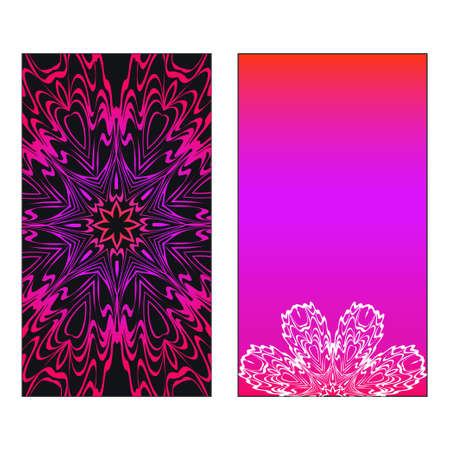 Colorful Ornamental Ethnic Flyer. Templates With Tribal Mandalas. Vector illustration. Purple, black, white color. For Wedding Invitation, Thank You Card, Save Card.