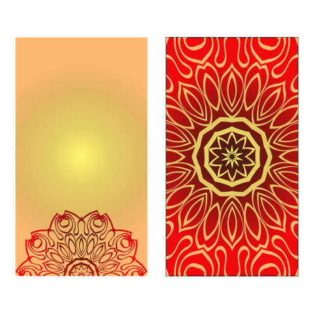 Design Vintage Cards With Floral Mandala Pattern And Ornaments. Vector illustration. Gold, red color. For Wedding, Bridal, Valentine's Day, Greeting Card Invitation